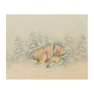 Watercolor Winter Deer in Snow Wood Wall Art