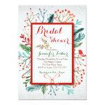 Watercolor Winter Floral Bridal Shower Invitation