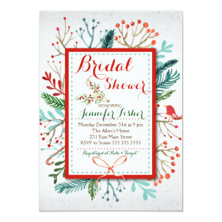 Watercolor Winter Floral Bridal Shower Invitation