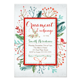 Watercolor Winter Floral ornament exchange Invitation