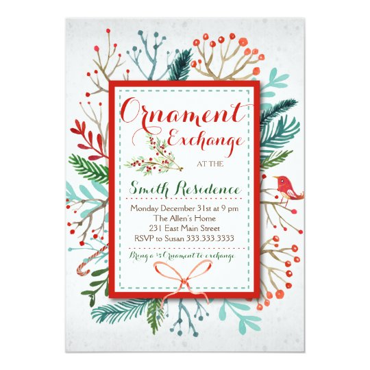 watercolor winter floral ornament exchange invitation zazzle com