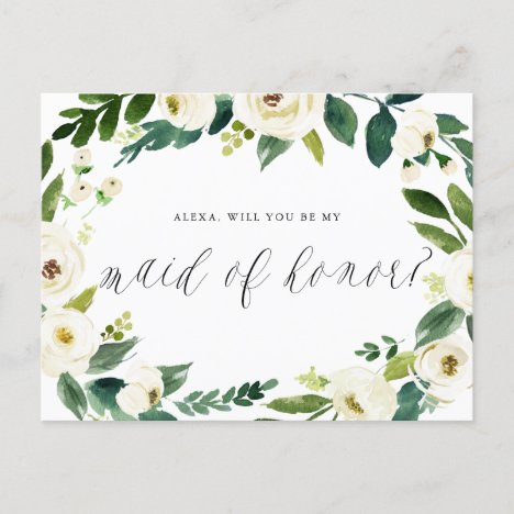 Watercolor Winter Floral Wreath Maid of Honor Announcement Postcard