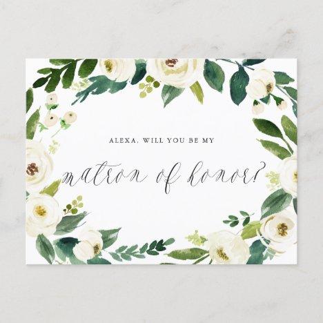 Watercolor Winter Floral Wreath Matron of Honor Announcement Postcard