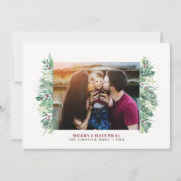 Watercolor Winter Foliage Christmas Family Letter Holiday Card