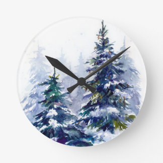 Watercolor winter forest Christmas tree modern ill Round Clock