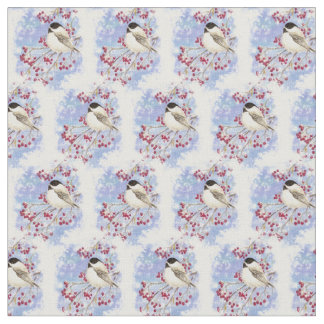 Watercolor Winter Frost Chickadee Bird art Fabric