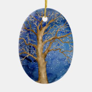 Watercolor Winter Oak Tree Ceramic Ornament