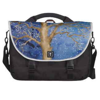 Watercolor Winter Oak Tree Laptop Bag