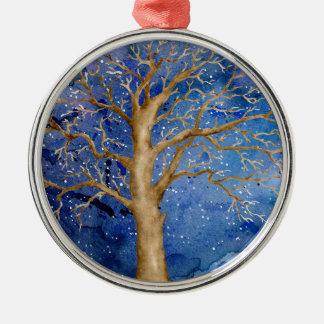Watercolor Winter Oak Tree Metal Ornament