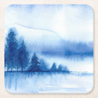Watercolor Winter Pine Trees on Reusable Square Paper Coaster