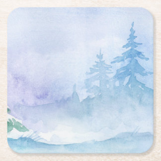 Watercolor Winter Pine Trees Reusable Square Paper Coaster