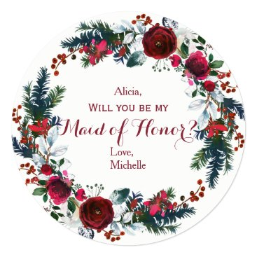 Beach Themed Watercolor winter red peonies wreath maid of honor card