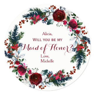 Watercolor winter red peonies wreath maid of honor invitation