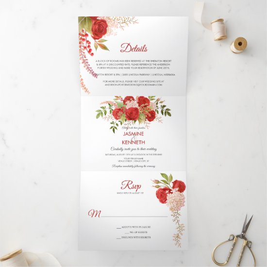 Watercolor Winter Red Roses and Greenery Wedding   Tri-Fold Invitation
