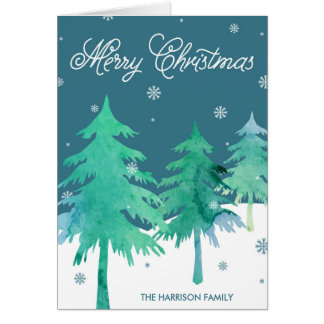Watercolor Winter Scene Christmas Greeting Cards