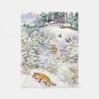 Watercolor Winter Scene Fleece Blanket