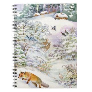 Watercolor Winter Scene Notebook