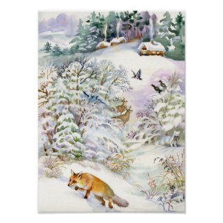 Watercolor Winter Scene Poster