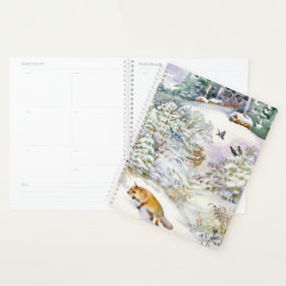 Watercolor Winter Scene Spiral Planner