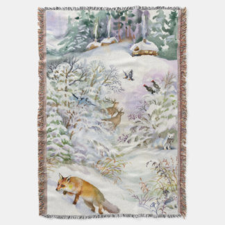 Watercolor Winter Scene Woven Throw Blanket