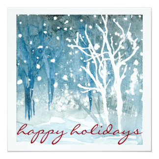 Watercolor Winter Snow Scene Happy Holidays Cards