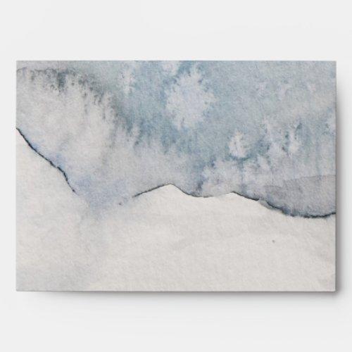 Watercolor Winter Snow Scene Return Address Envelope
