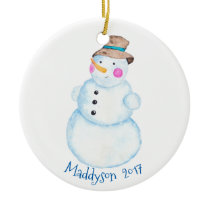 Watercolor Winter Snowman Personalized Ceramic Ornament
