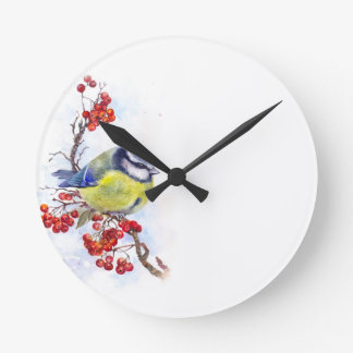 Watercolor winter titmouse bird illustration branc round clock