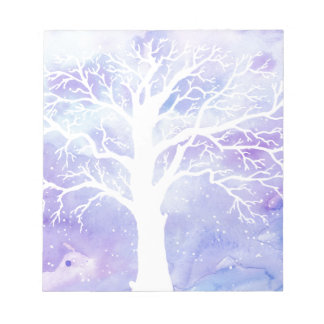 Watercolor winter tree in snow notepad