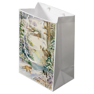 Watercolor Winter Wildlife Medium Gift Bag
