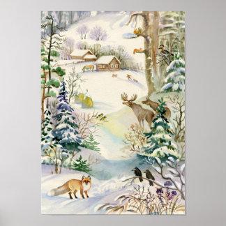 Watercolor Winter Wildlife Poster