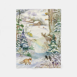 Watercolor Winter Wildlife Small Fleece Blanket