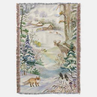 Watercolor Winter Wildlife Woven Throw Blanket
