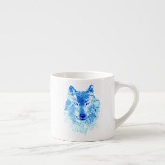 Watercolor Winter Wolf Espresso Cup