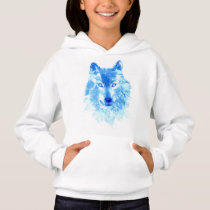 Watercolor Winter Wolf White Hoodie