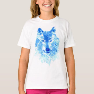 Watercolor Winter Wolf White T-Shirt