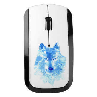 Watercolor Winter Wolf Wireless Mouse