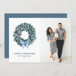 """Watercolor Winterberries Wreath Happy Hanukkah Holiday Card<br><div class=""""desc"""">Happy Hanukkah! Send Hanukkah wishes to family and friends with this greenery flat card. It features watercolor winter wreath with a blue ribbon. Customize by adding greetings,  photo,  name and message. This winterberry wreath flat card is available in other cardstrock.</div>"""