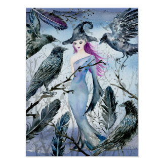 Watercolor witch and Crows Poster