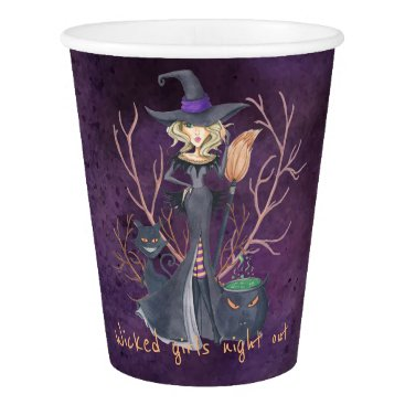Halloween Themed Watercolor witch Halloween bachelorette party Paper Cup