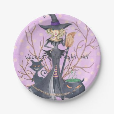 Halloween Themed Watercolor witch Halloween bachelorette party Paper Plate