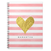 Watercolor with Gold Foil Heart Notebook