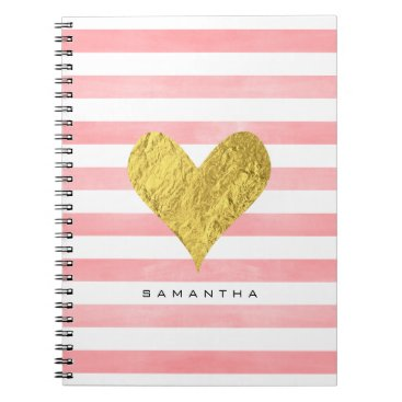 byDania Watercolor with Gold Foil Heart Notebook