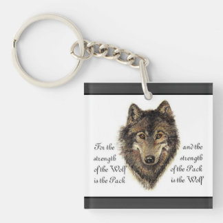 Watercolor Wolf and Family Pack Quote Single-Sided Square Acrylic Keychain