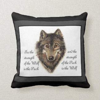 Watercolor Wolf and Family Pack Quote Throw Pillow