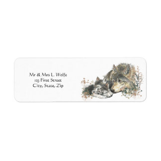 Watercolor  Wolf & Cub Animal Art Label