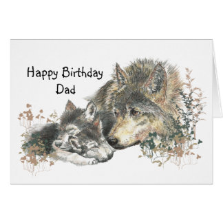 Watercolor Wolf Father & Cubs Dad, Father Birthday Card