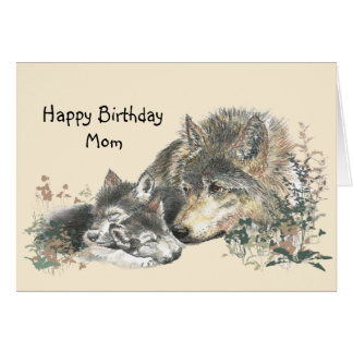 Watercolor Wolf Mother & Cubs Mom Birthday Card