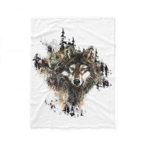 Watercolor Wolf Mountain Animal Art Fleece Blanket