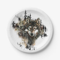 Watercolor Wolf Mountain Animal Art Paper Plate